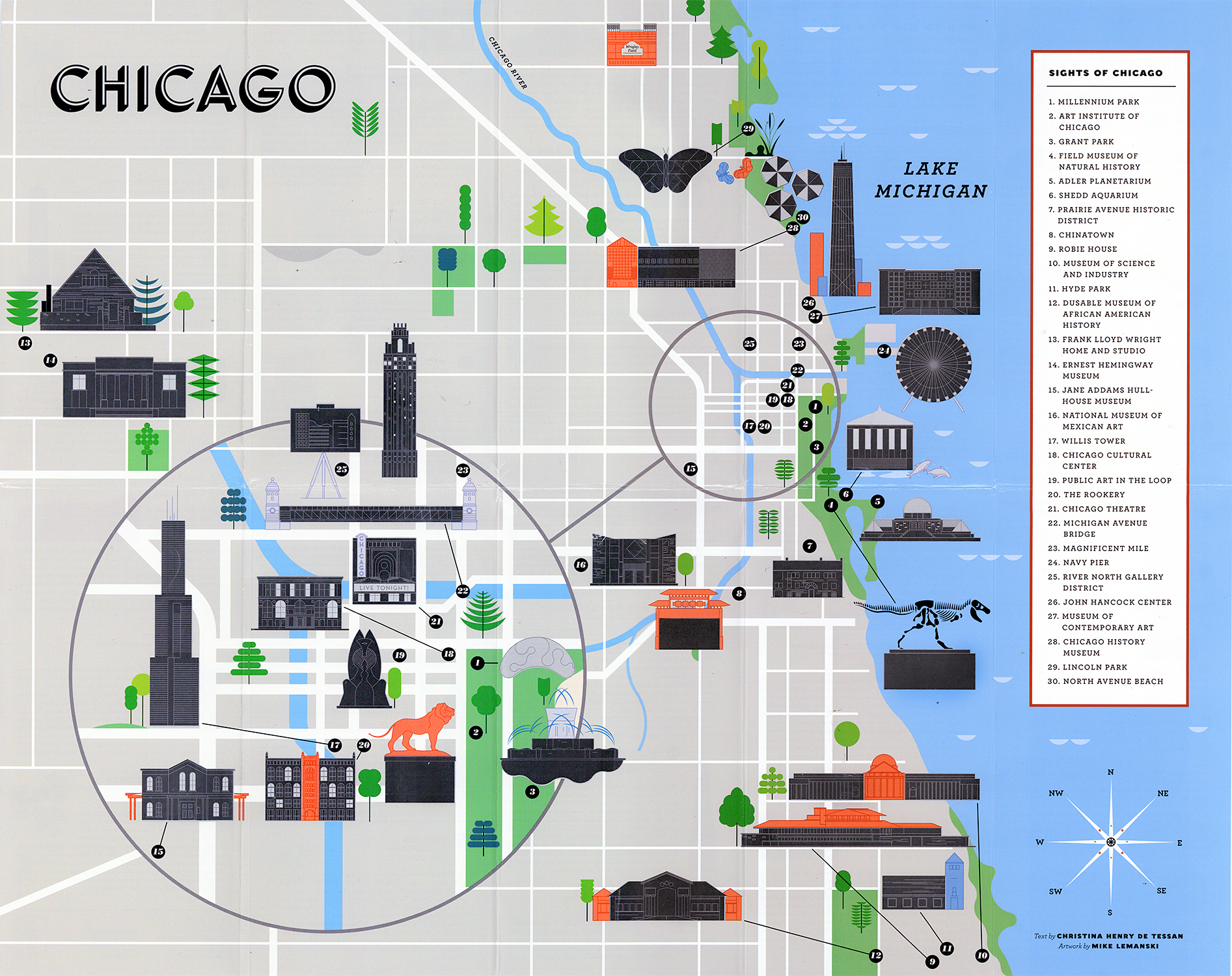 Chicago landmarks map
